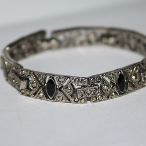 Vintage silver and onyx bracelet 6.75 inches